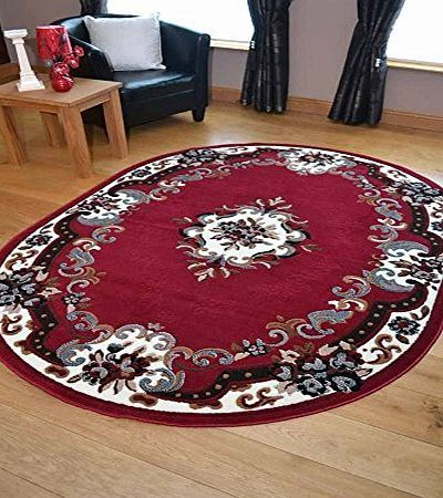 Rugs Supermarket Palace Traditional Red Oval Shaped Rug. Available in 2 Sizes (120cm x 158cm) product image