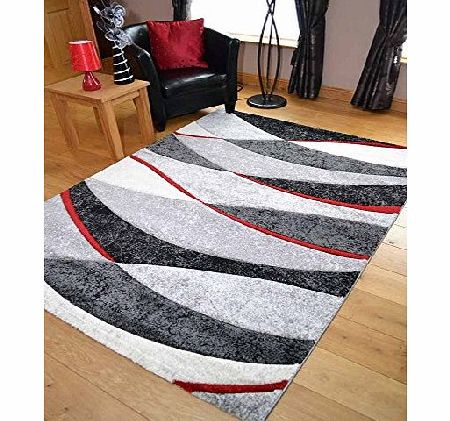 Rugs Supermarket Tempo Black And Red Wave Thick Quality Modern Carved Rugs. Available in 7 Sizes (200cm x 300cm) product image
