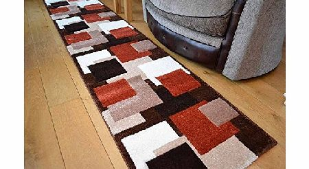 Rugs Supermarket Tempo Rust Beige Square Design Thick Quality Modern Carved Rugs. Available in 6 Sizes (67cm x 300cm) product image