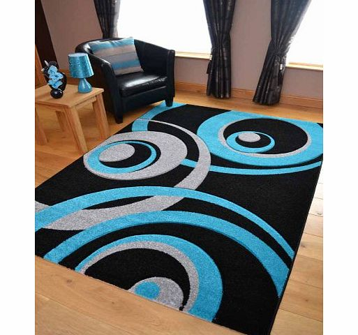 Rugs Supermarket Vibe Modern Black Teal And Silver Circle Design Quality Hand Carved Rugs. Available in 4 Sizes (160cm x 220cm) product image