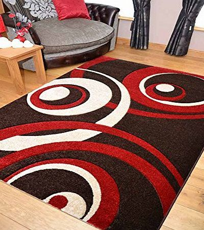 Rugs Supermarket Vibe Modern Brown Red and Beige Circle Design Quality Hand Carved Rugs. Available in 4 Sizes (190cm x 280cm) product image
