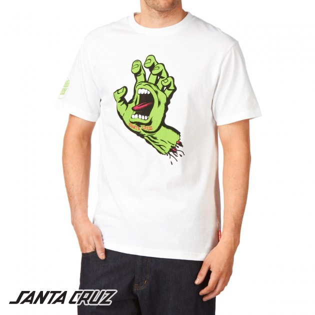 Santa Cruz Mens Santa Cruz Screaming Hand T-Shirt - White product image