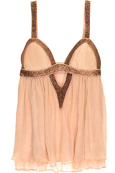 Sass & Bide Silk crepe beaded babydoll top