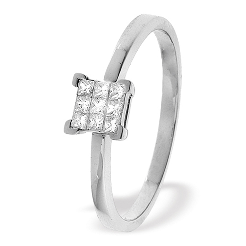 0.15 Carat Princess Cut Diamond Ring In 18 Carat White Gold