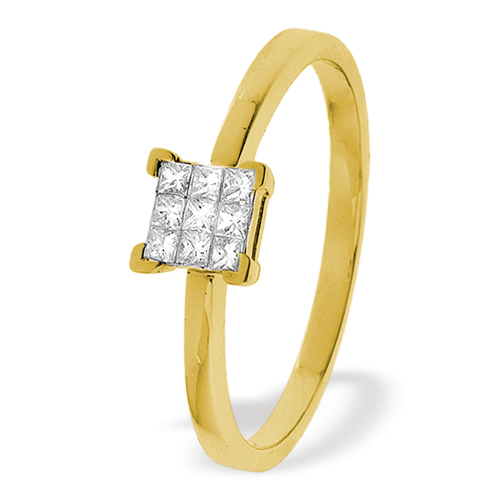 0.15 Carat Princess Cut Diamond Ring In 18 Carat Yellow Gold