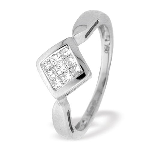 0.25 Carat Princess Cut Diamond Ring In 18 Carat White Gold