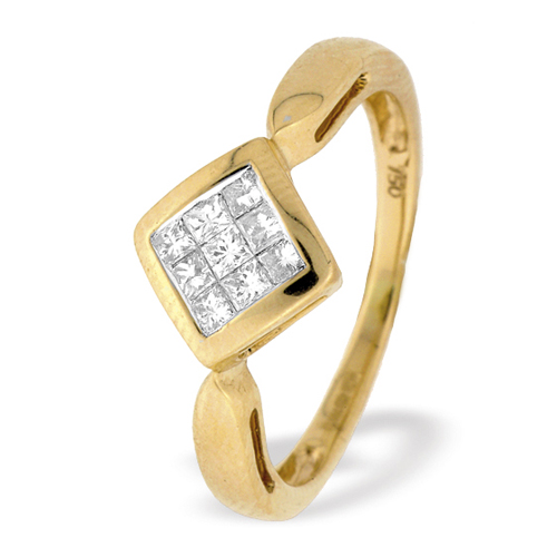 0.25 Carat Princess Cut Diamond Ring In 18 Carat Yellow Gold
