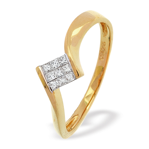 0.35 Carat Princess Cut Diamond Ring In 18 Carat Yellow Gold