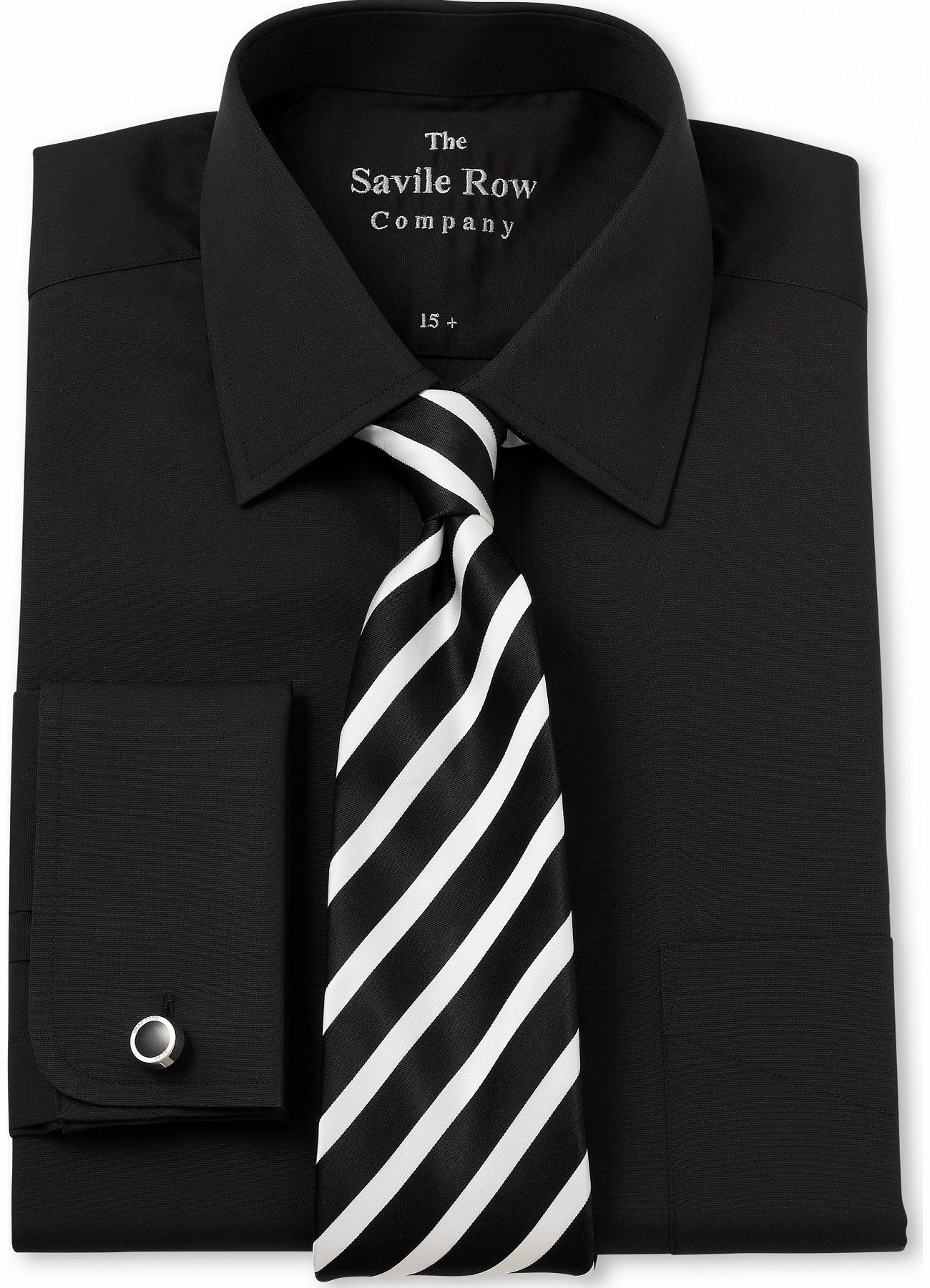 Savile Row Company Black Poplin Classic Fit Shirt 18`` Lengthened product image