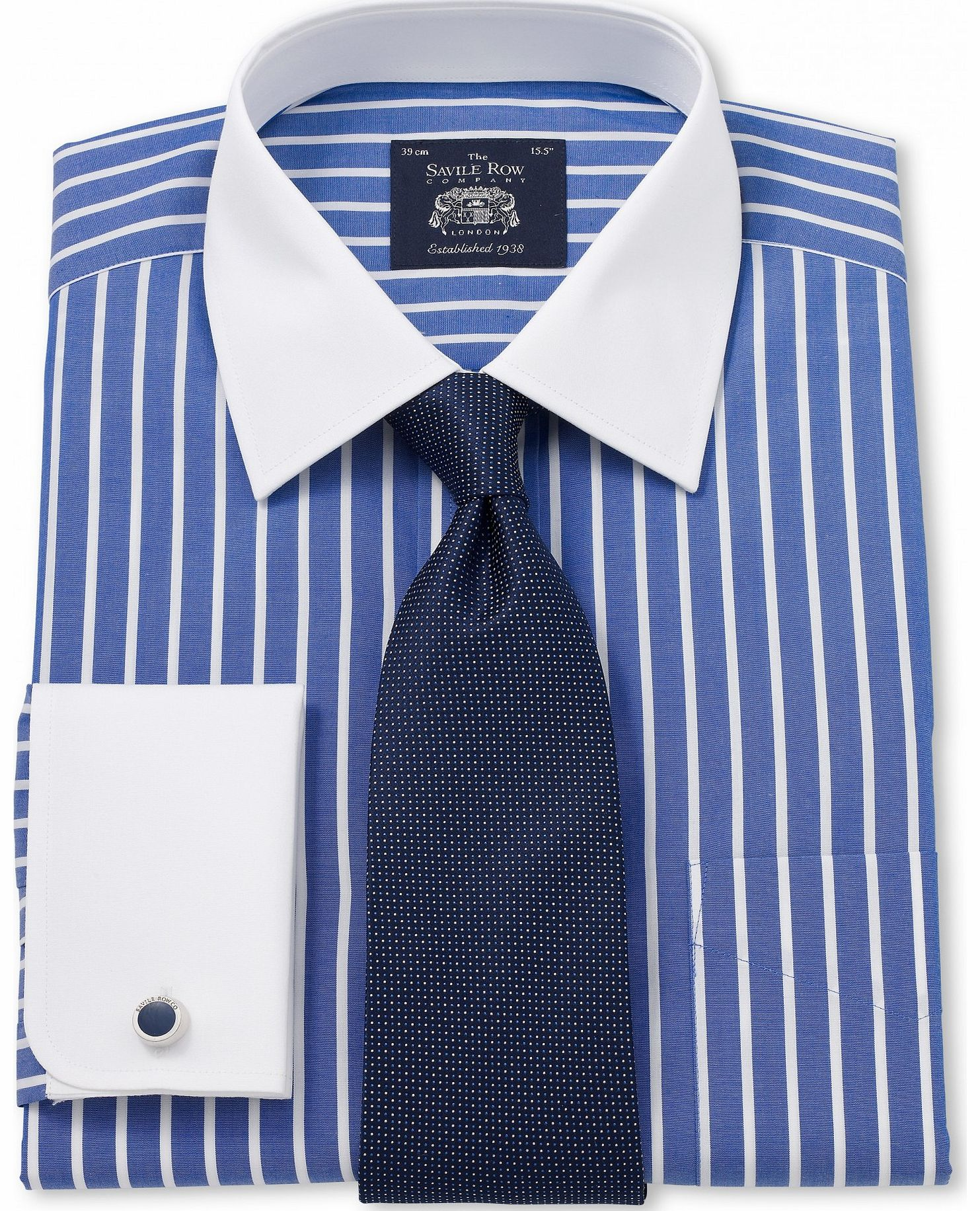 Blue white collar and cuff shirt for Blue and white striped shirt with white collar
