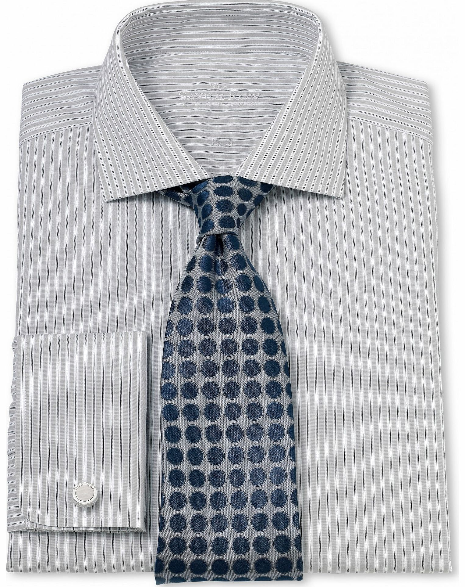 Savile Row Company Grey White Stripe Slim Fit Shirt 17`` Lengthened product image