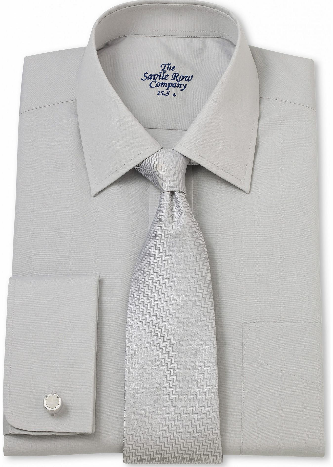 Savile Row Company Light Grey Poplin Classic Fit Shirt 17`` product image