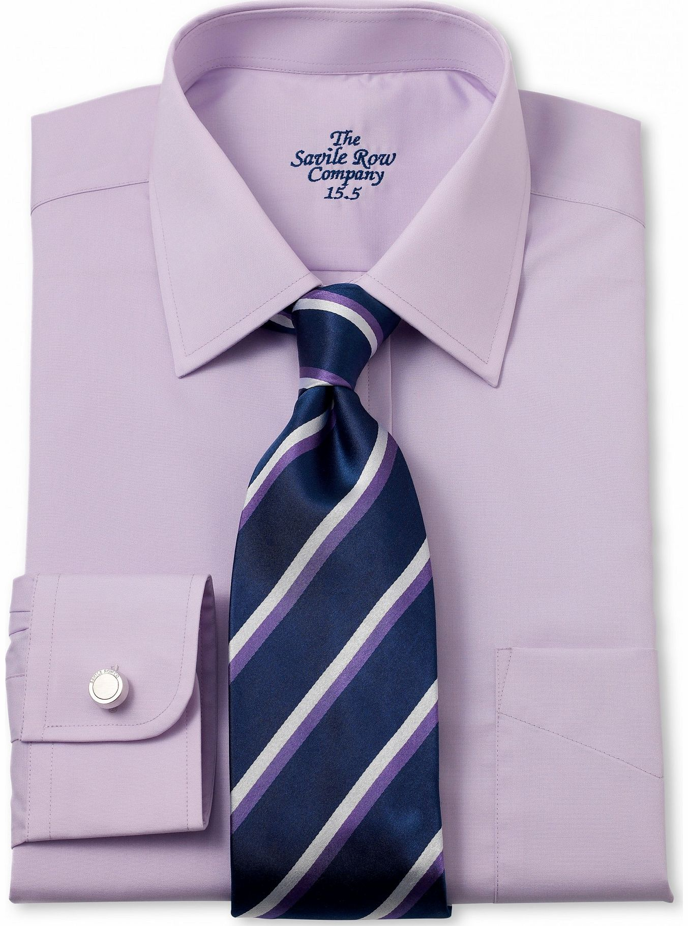 Savile Row Company Lilac Poplin Classic Fit Shirt 16`` Standard & product image