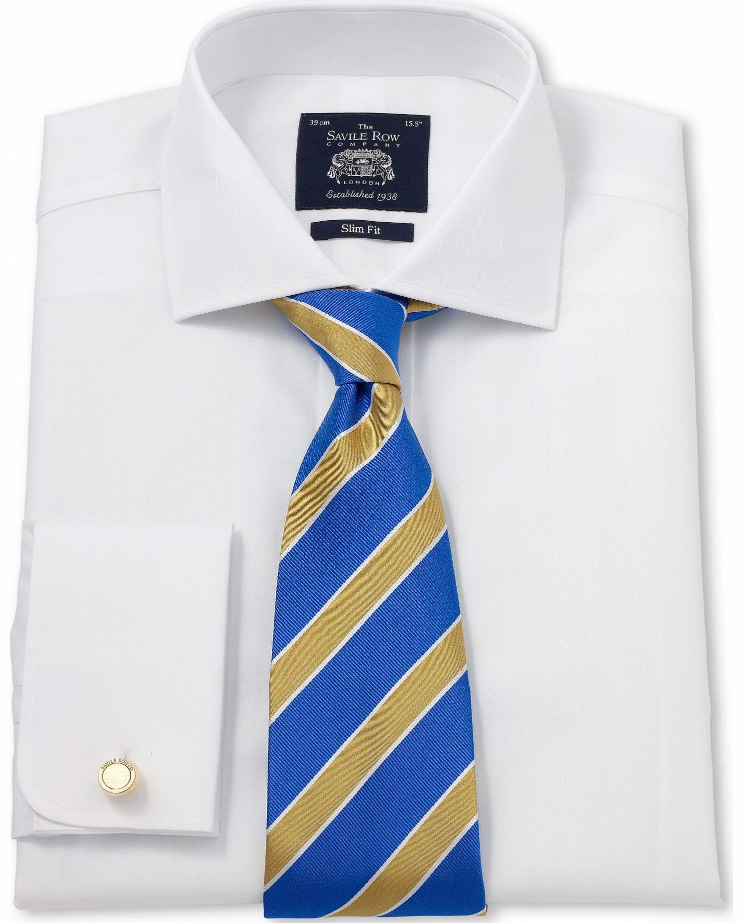 Savile Row Company White Luxury Herringbone Slim Fit Shirt
