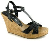 Platino `Davina` Ladies Fashion T-bar Wedge Sandals - Black - 6 UK