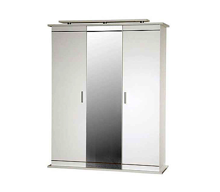 Scandinavia 3 door mirrored wardrobe white