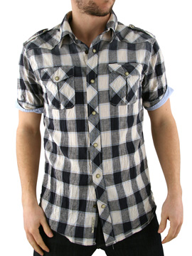 Scotch & Soda Scotch and Soda Navy Blue Check Slub Shirt product image