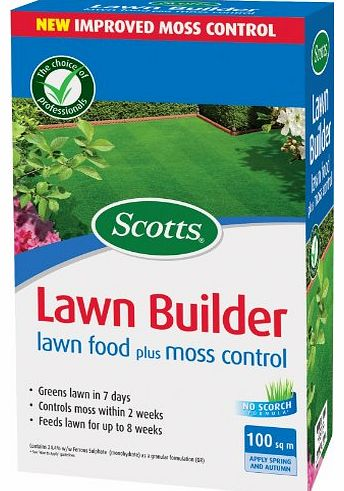 Scotts Miracle-Gro Scotts Lawn Builder 100 sq m Lawn Food Plus Moss Control Carton