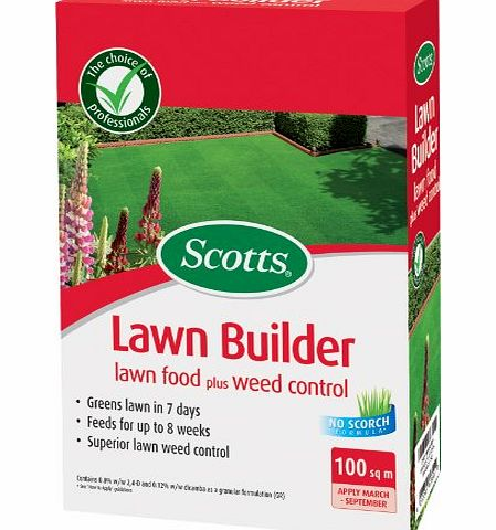 Scotts Miracle-Gro Scotts Lawn Builder 100 sq m Lawn Food Plus Weed Control Carton