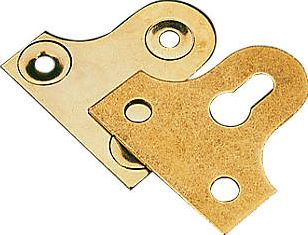 Screwfix, 1228[^]11582 Slotted Mirror Plates Electro Brass 38 x 38 x