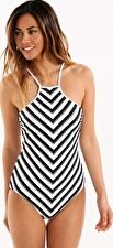 Seafolly, 1295[^]253414 Coast to Coast High Neck Maillot - Black and White