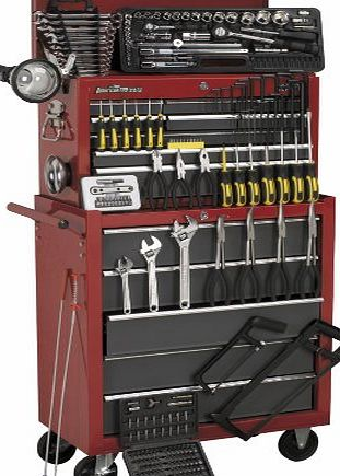 Sealey AP2250BBCOMBO Topchest and Rollcab Combination 14 Drawer with Ball Bearing Runners Tool Kit, Red/ Grey, Set of 239