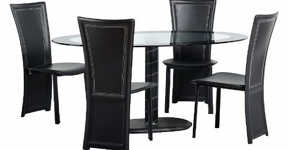 worldstores cameo black glass oval dining table and 4 chairs