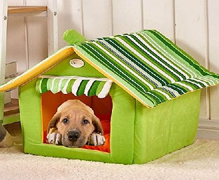 Semoss Stripes Pattern Portable Dog House Warn and Cozy Indoor Outdoor Dog Kennel Waterproof Dog Cage Dog Bed Cushion for Large Dogs,Cats,Rabbits and Other Animals Green,Size:L,50 cm X 45 cm