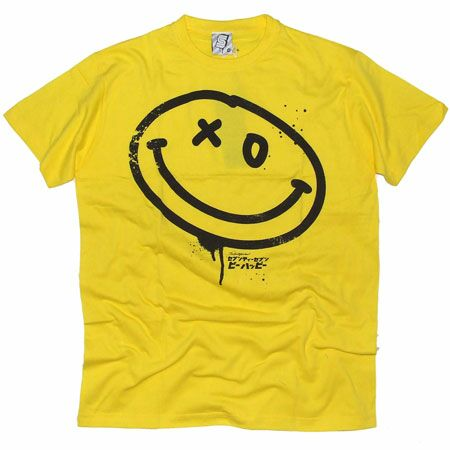 seventyseven smiley face yellow t shirtstylish black drip paint effect. Black Bedroom Furniture Sets. Home Design Ideas