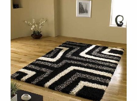 Shaggy Rug Tides Black Cream Grey Modern Shaggy Home Rug 4 SIZES AVAILABLE, 80x150cm (2ft9x 5ft0) product image