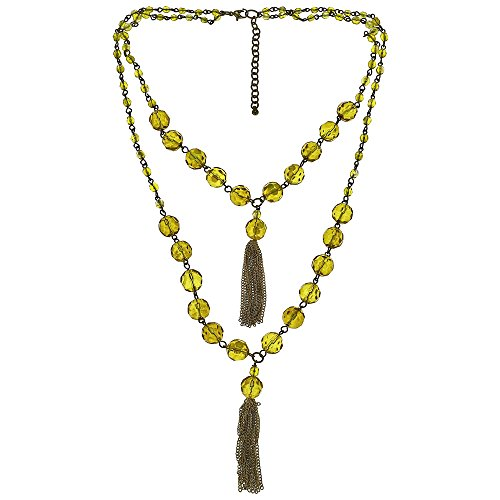 ShalinIndia Contemporary Designer Yellow Translucent Bead Necklace Costume Fashion Jewellery product image