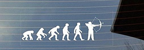 Shaw Print Evolution of man Archery car window sticker - White