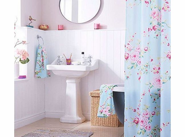 SHOWER CURTAIN SHABBY DURABLE PINK BLUE ROSE SHOWER CHIC