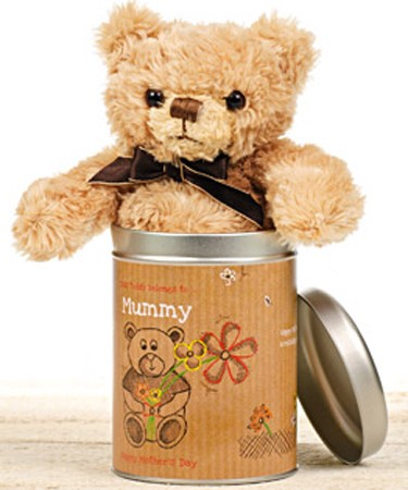 "Personalised Mothers Day Teddy in a Tin "" Love"