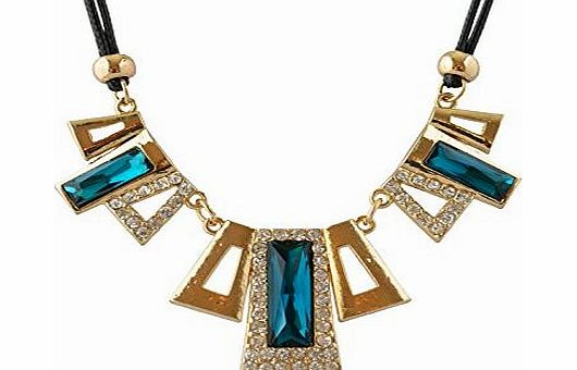 Signore - Signori Blue Rectangular Crystal Necklace Statement Jewellery,Birthday Christmas Valentines Mothers Day Gift product image
