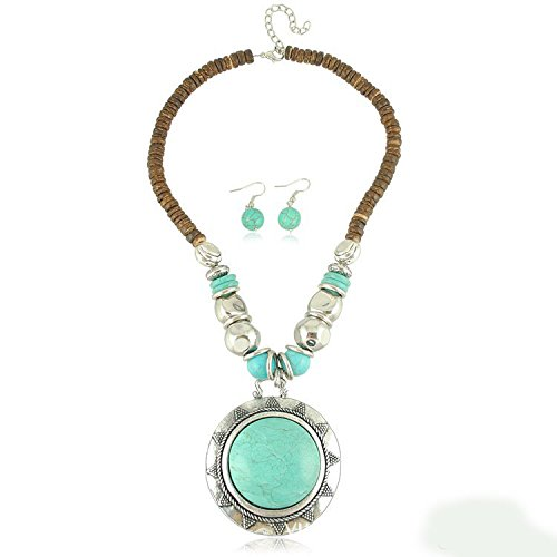 Signore - Signori Genuine Handmade Jewellery - Turquoise Resin stone statement necklace and earrings costume Jewellery Set For Women - perfect gifft product image