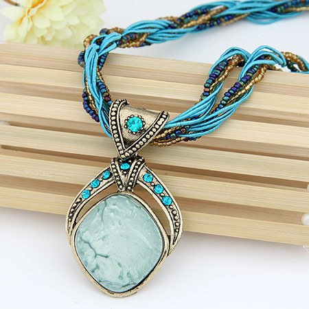 Signore - Signori Turquoise Colour Handmade Rhombus Necklace, Antique Vintage Style Jewellery product image