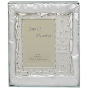 silver & Pearl 30th Anniversary Photo Frame
