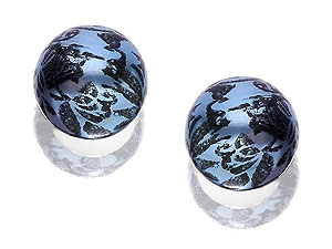 and Swirled Blue Bead Earrings - 6mm 060437
