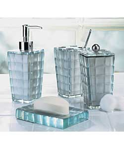 Silver mosaic 4 piece accessory set bathroom accessorie for Silver mosaic bathroom accessories
