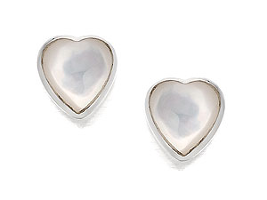 Mother of Pearl Heart Shaped Stud Earrings 060483