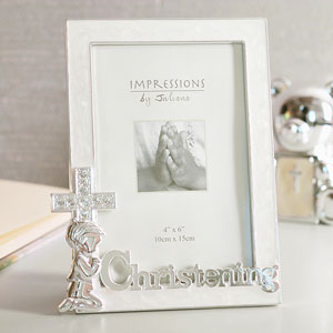 SILVER Plated Christening 4 x 6 Photo Frame