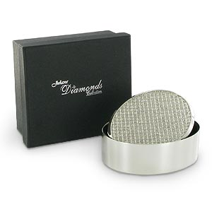 silver Plated Diamonds Collection Oval Trinket Box