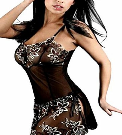 SINBURY Illusion Embroidered Baby Doll Floral Chemise Lace Babydoll Dress Nightie Nightwear w/ thong(L) product image