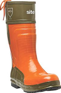 Site, 1228[^]2672F Chainsaw Safety Boots Orange/Green Size 11