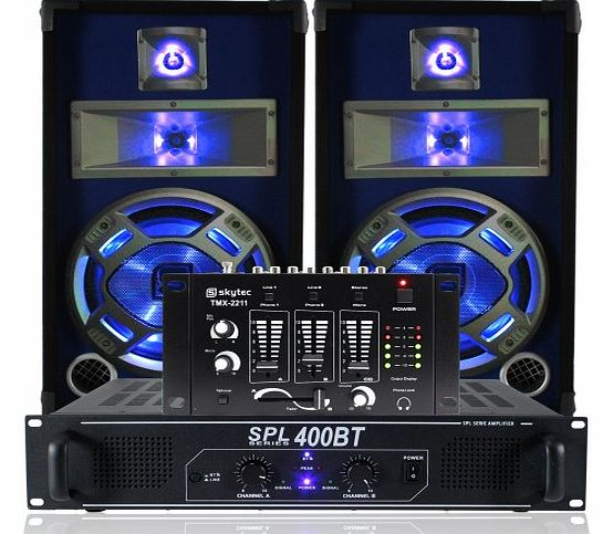 Skytec 2x Skytec 10`` Blue LED Party Speakers + Bluetooth Amp + Mixer DJ System 800W product image