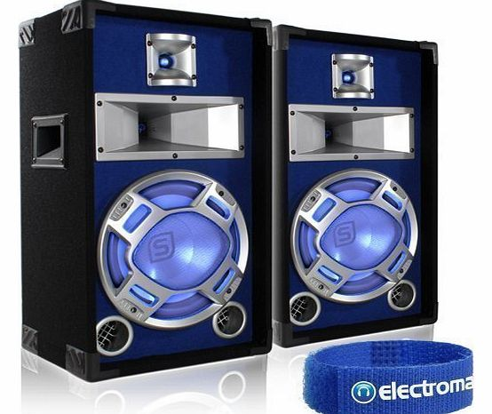 Skytec 2x Skytec 10`` Passive 3-Way Blue LED DJ PA Speakers 800W product image
