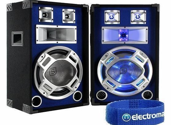 Skytec 2x Skytec 12`` Passive Blue LED DJ PA Speakers 1200W product image