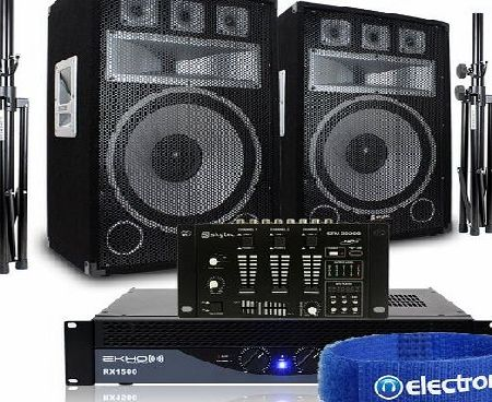 Skytec 2x Skytec 15`` Party Speakers   RX1500 PA Amplifier   DJ Mixer   Stands Disco Sound System 2000W
