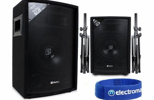 Skytec 2x Skytec 8`` PA Speakers + 2x Speaker Stands Party Disco DJ Sound System 800W product image